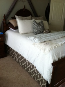 Pillows? Check. Bedskirt? Check. Staight seams? This I can do.